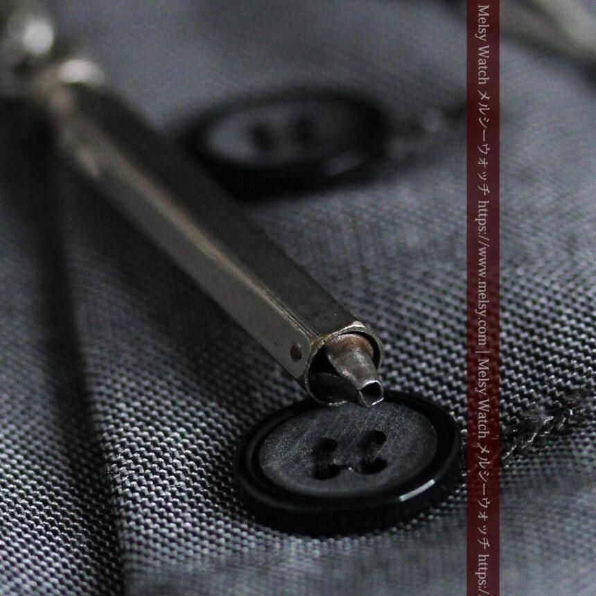 くすんだ銀色のアンティーク懐中時計チェーン 鍵巻き付き-C0458-14