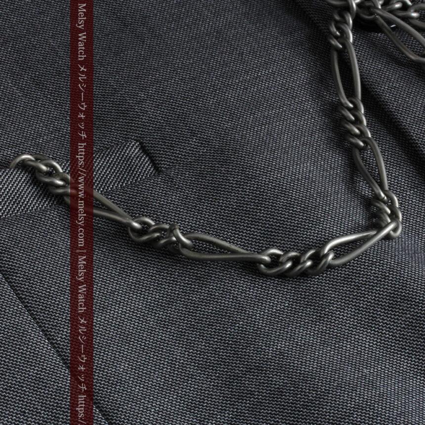 くすんだ銀色のアンティーク懐中時計チェーン 鍵巻き付き-C0458-4
