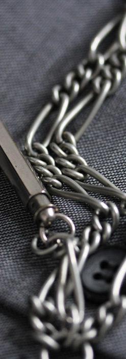 くすんだ銀色のアンティーク懐中時計チェーン 鍵巻き付き-C0458-5