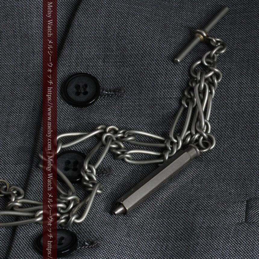 くすんだ銀色のアンティーク懐中時計チェーン 鍵巻き付き-C0458-6