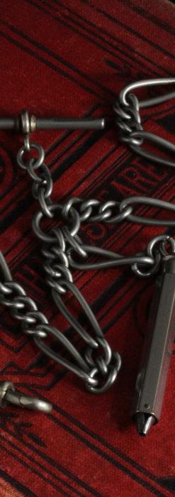 くすんだ銀色のアンティーク懐中時計チェーン 鍵巻き付き-C0458-7