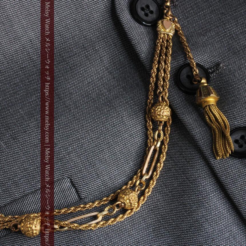 非常に綺麗なアンティークのこだわり懐中時計チェーン 飾り付き複線-C0459-1