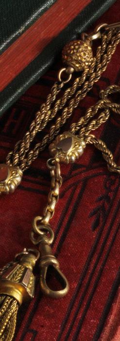 非常に綺麗なアンティークのこだわり懐中時計チェーン 飾り付き複線-C0459-10