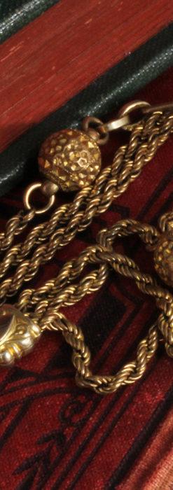 非常に綺麗なアンティークのこだわり懐中時計チェーン 飾り付き複線-C0459-11