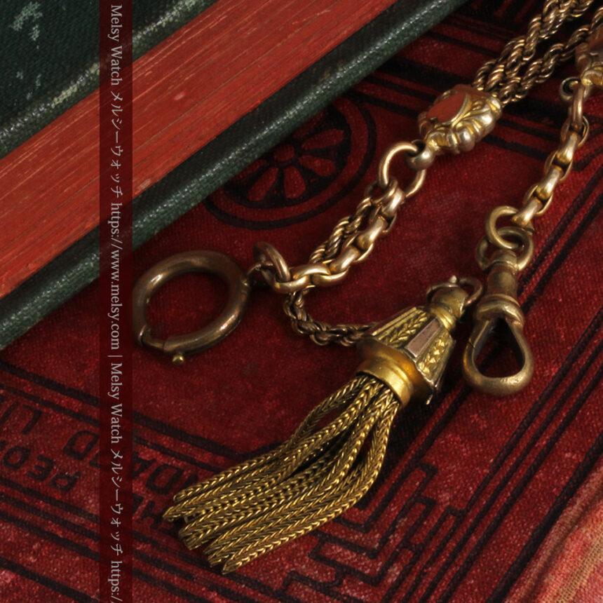 非常に綺麗なアンティークのこだわり懐中時計チェーン 飾り付き複線-C0459-12