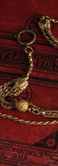 非常に綺麗なアンティークのこだわり懐中時計チェーン 飾り付き複線-C0459-13