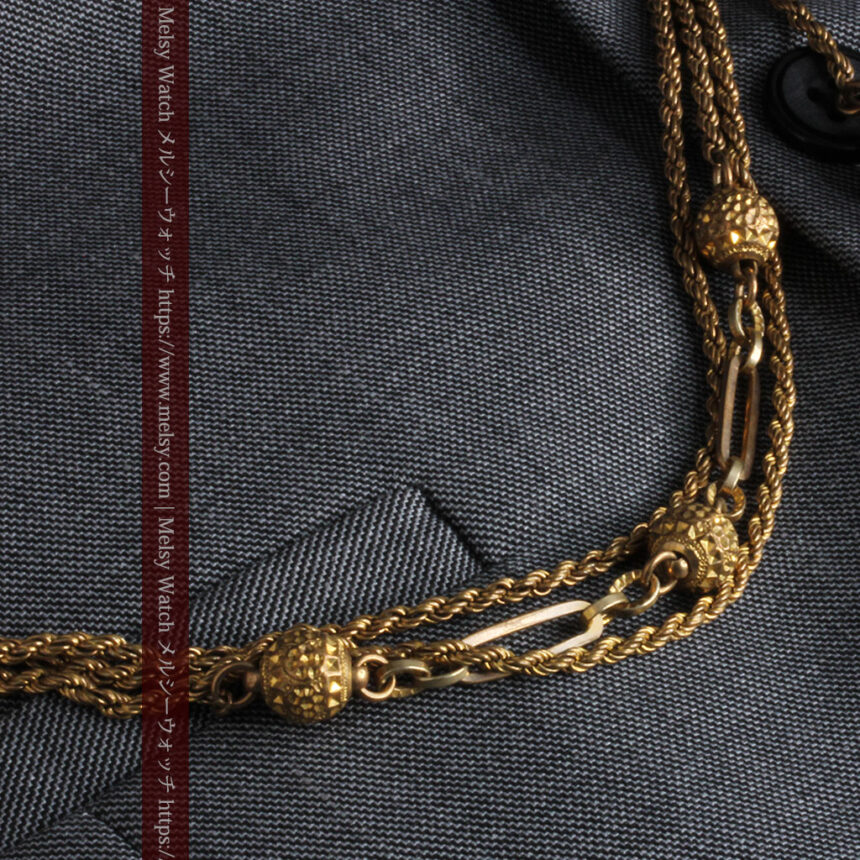 非常に綺麗なアンティークのこだわり懐中時計チェーン 飾り付き複線-C0459-2