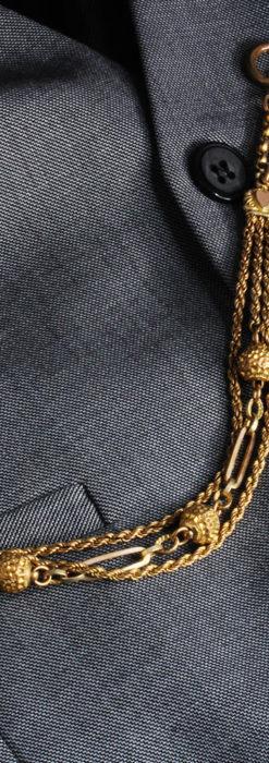 非常に綺麗なアンティークのこだわり懐中時計チェーン 飾り付き複線-C0459-3