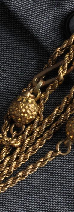 非常に綺麗なアンティークのこだわり懐中時計チェーン 飾り付き複線-C0459-4