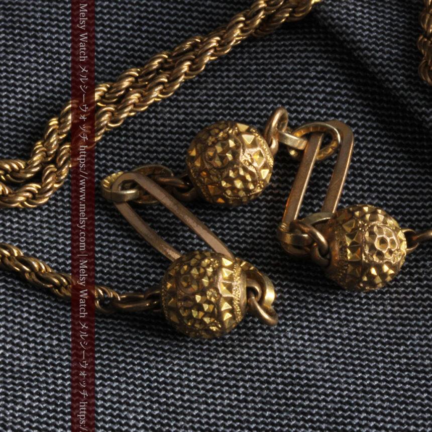 非常に綺麗なアンティークのこだわり懐中時計チェーン 飾り付き複線-C0459-5