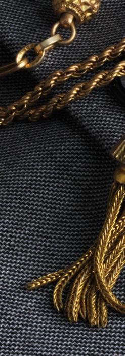 非常に綺麗なアンティークのこだわり懐中時計チェーン 飾り付き複線-C0459-6
