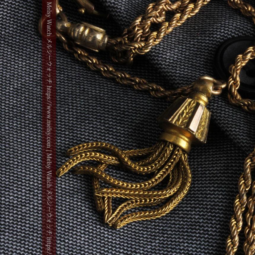 非常に綺麗なアンティークのこだわり懐中時計チェーン 飾り付き複線-C0459-7