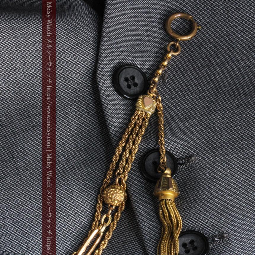 非常に綺麗なアンティークのこだわり懐中時計チェーン 飾り付き複線-C0459-8