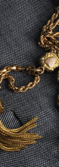 非常に綺麗なアンティークのこだわり懐中時計チェーン 飾り付き複線-C0459-9