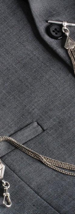 銀無垢複線のアンティーク懐中時計チェーン 銀装飾3点-C0460-1