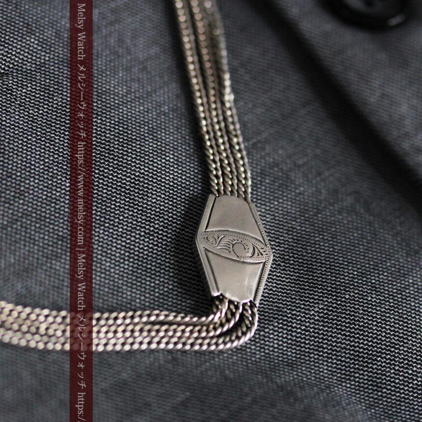 銀無垢複線のアンティーク懐中時計チェーン 銀装飾3点-C0460-2