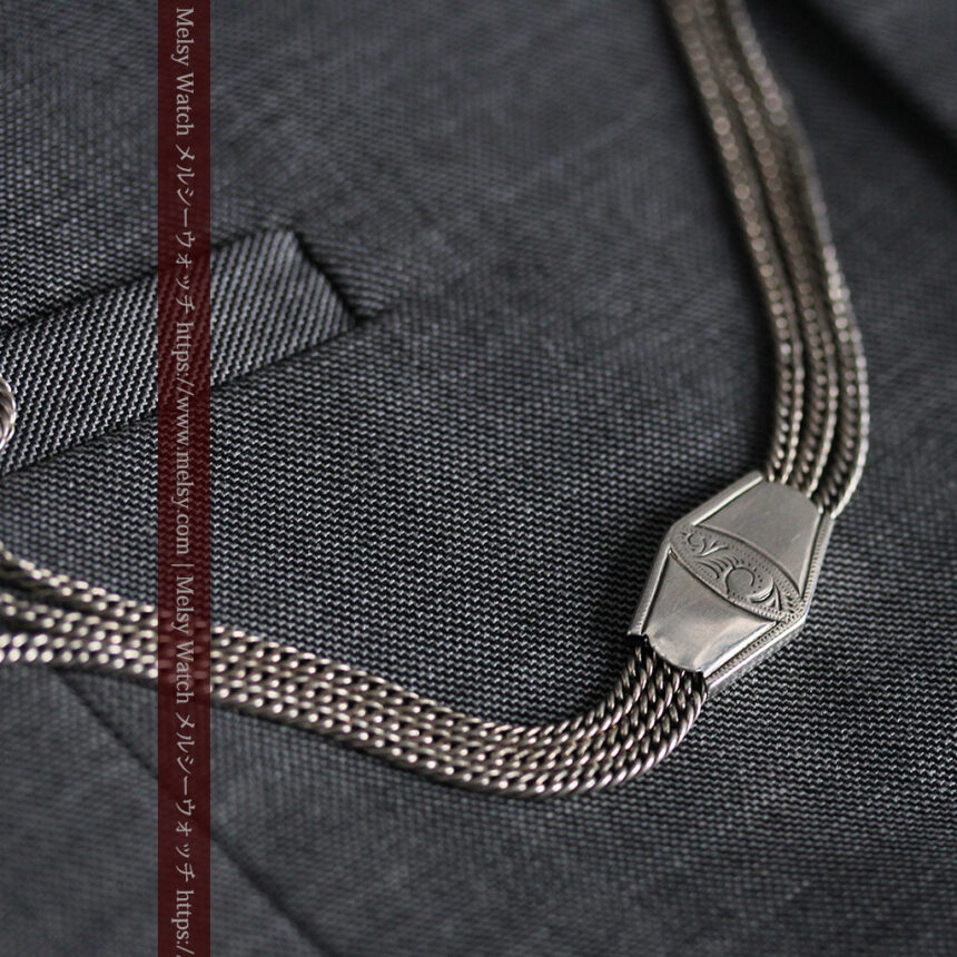 銀無垢複線のアンティーク懐中時計チェーン 銀装飾3点-C0460-3