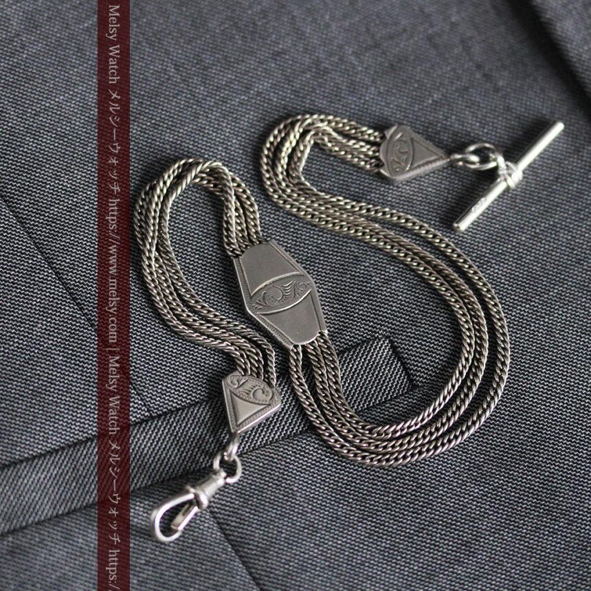 銀無垢複線のアンティーク懐中時計チェーン 銀装飾3点-C0460-4
