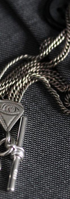 銀無垢複線のアンティーク懐中時計チェーン 銀装飾3点-C0460-7