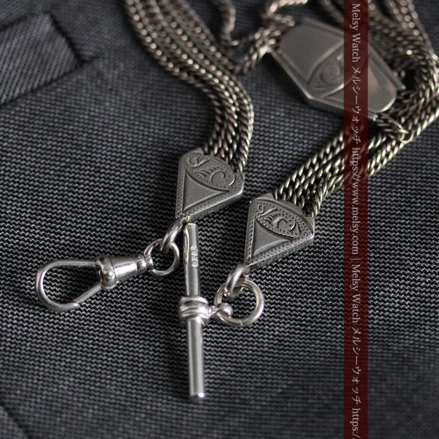 銀無垢複線のアンティーク懐中時計チェーン 銀装飾3点-C0460-8