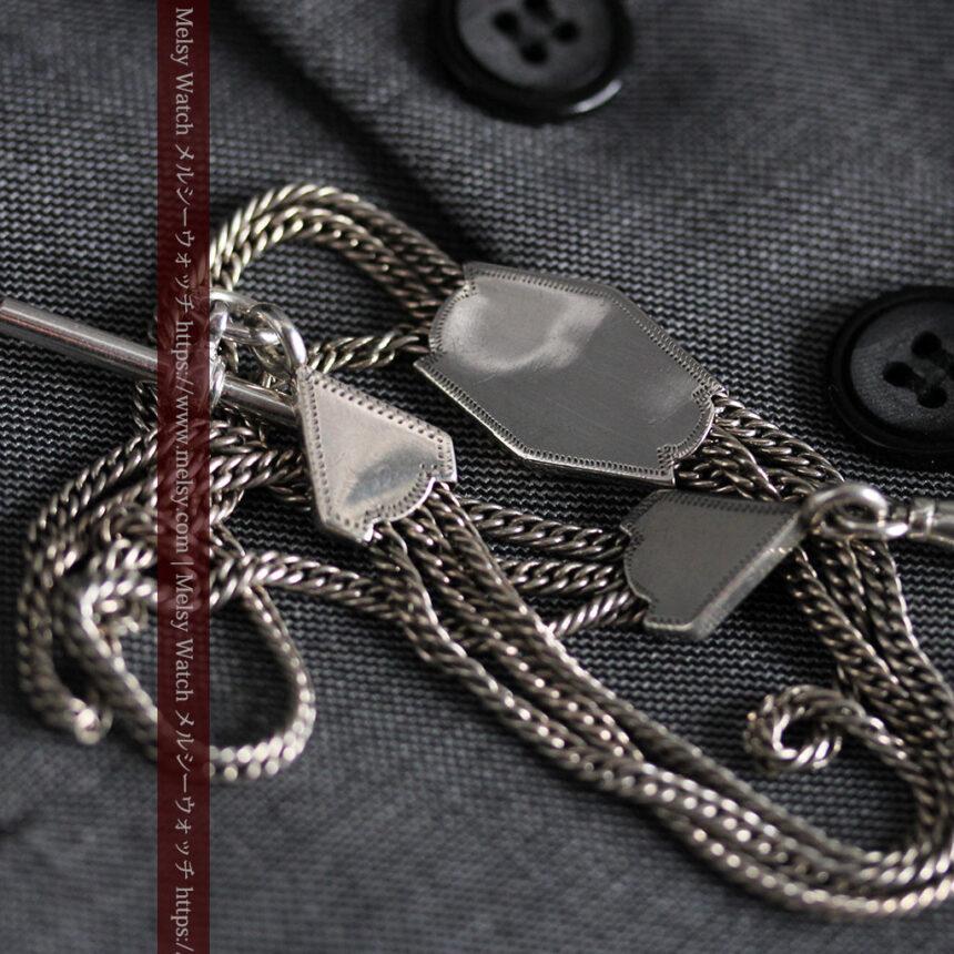 銀無垢複線のアンティーク懐中時計チェーン 銀装飾3点-C0460-9