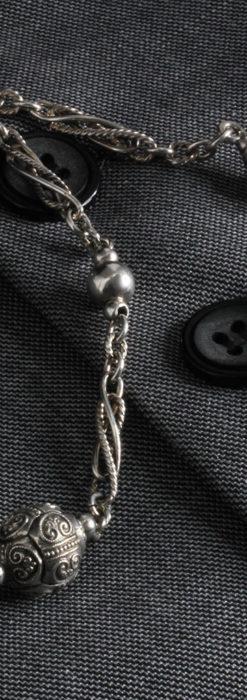 3つの玉飾りと味のある銀無垢アンティーク懐中時計チェーン-C0461-1