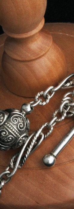 3つの玉飾りと味のある銀無垢アンティーク懐中時計チェーン-C0461-10