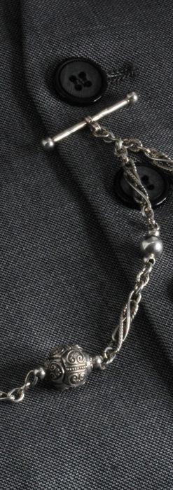 3つの玉飾りと味のある銀無垢アンティーク懐中時計チェーン-C0461-2
