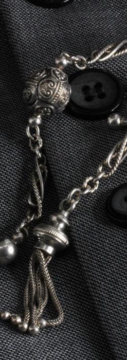 3つの玉飾りと味のある銀無垢アンティーク懐中時計チェーン-C0461-3