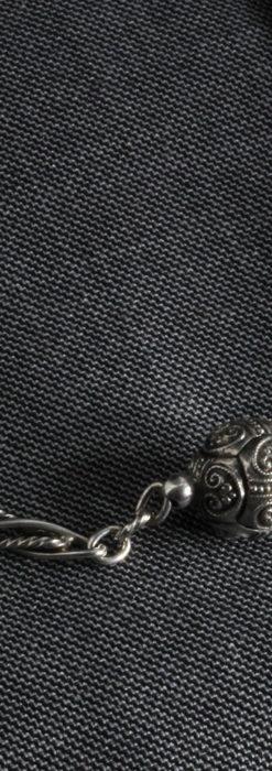 3つの玉飾りと味のある銀無垢アンティーク懐中時計チェーン-C0461-5