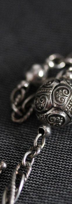 3つの玉飾りと味のある銀無垢アンティーク懐中時計チェーン-C0461-6