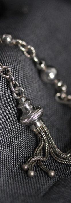 3つの玉飾りと味のある銀無垢アンティーク懐中時計チェーン-C0461-7