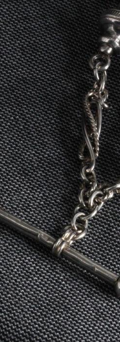 3つの玉飾りと味のある銀無垢アンティーク懐中時計チェーン-C0461-8