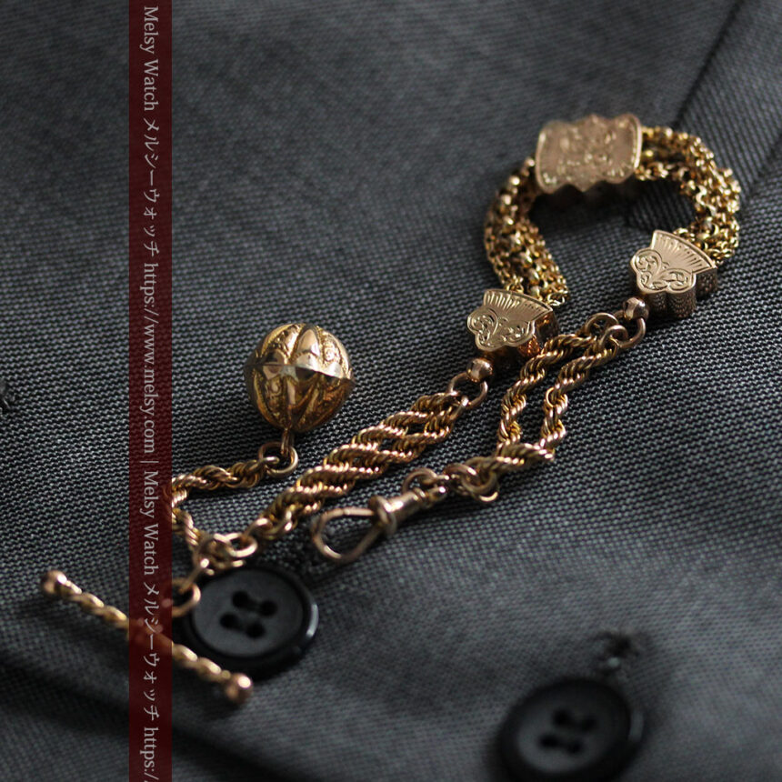 玉飾りと繊細な装飾の特別な金無垢アンティーク懐中時計チェーン-C0462-1