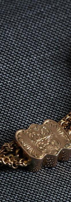 玉飾りと繊細な装飾の特別な金無垢アンティーク懐中時計チェーン-C0462-10