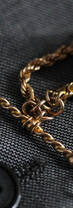 玉飾りと繊細な装飾の特別な金無垢アンティーク懐中時計チェーン-C0462-11