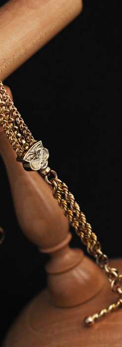 玉飾りと繊細な装飾の特別な金無垢アンティーク懐中時計チェーン-C0462-12
