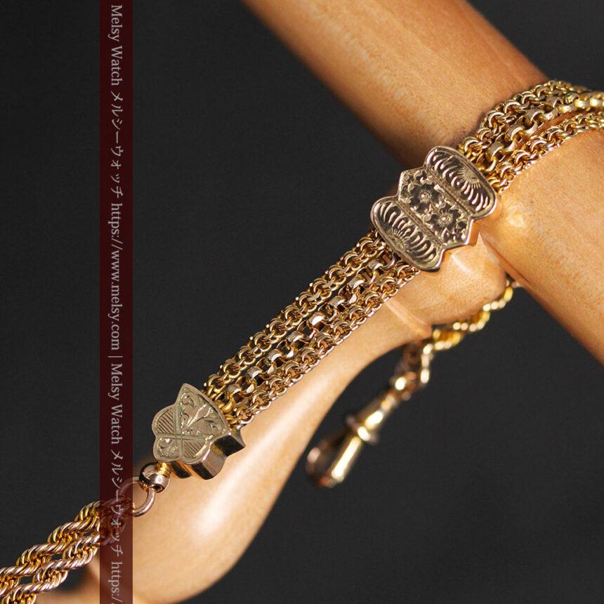 玉飾りと繊細な装飾の特別な金無垢アンティーク懐中時計チェーン-C0462-13