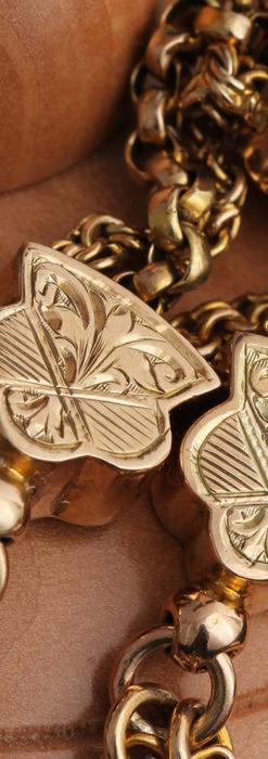 玉飾りと繊細な装飾の特別な金無垢アンティーク懐中時計チェーン-C0462-14