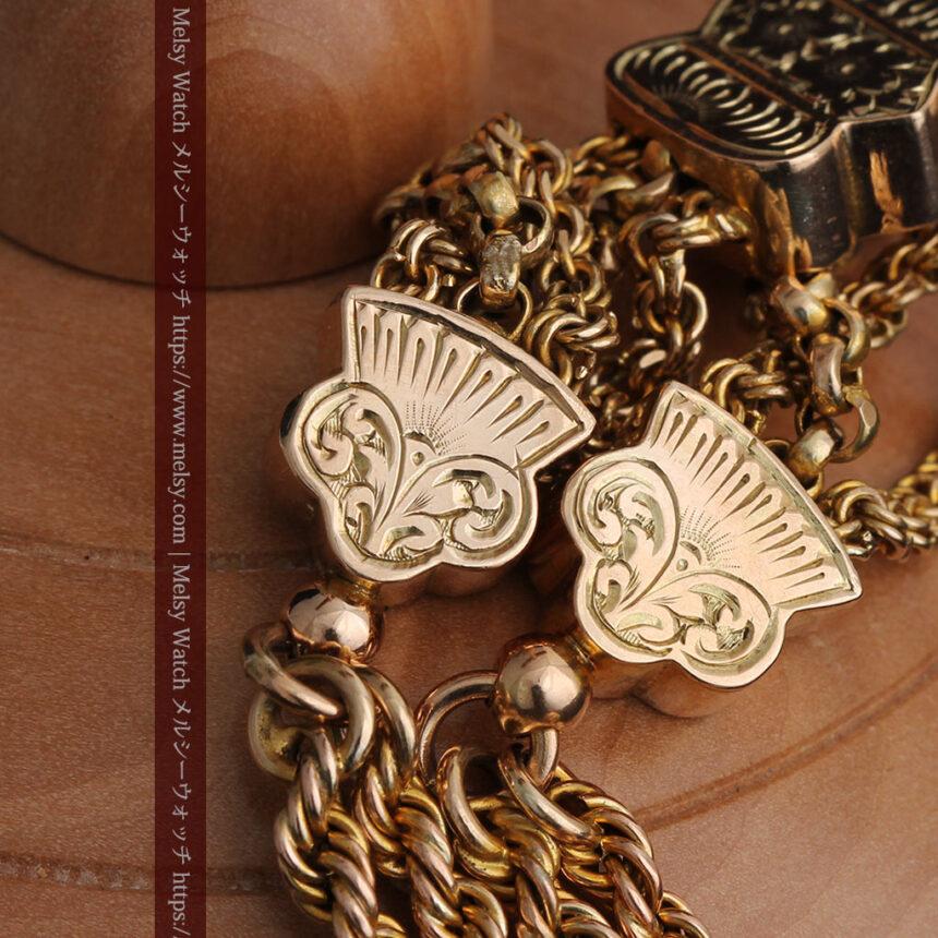 玉飾りと繊細な装飾の特別な金無垢アンティーク懐中時計チェーン-C0462-15