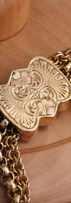 玉飾りと繊細な装飾の特別な金無垢アンティーク懐中時計チェーン-C0462-16