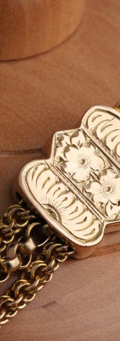 玉飾りと繊細な装飾の特別な金無垢アンティーク懐中時計チェーン-C0462-17