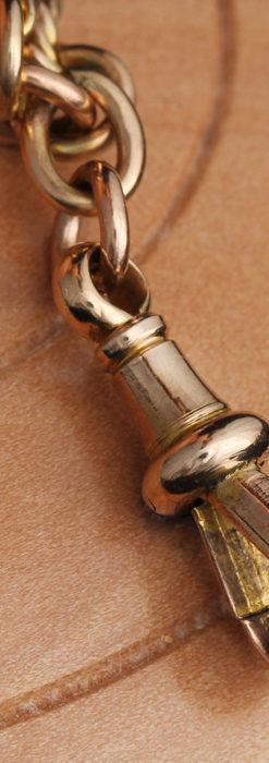 玉飾りと繊細な装飾の特別な金無垢アンティーク懐中時計チェーン-C0462-18