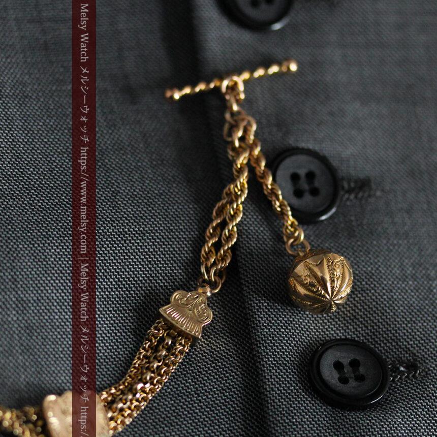 玉飾りと繊細な装飾の特別な金無垢アンティーク懐中時計チェーン-C0462-2