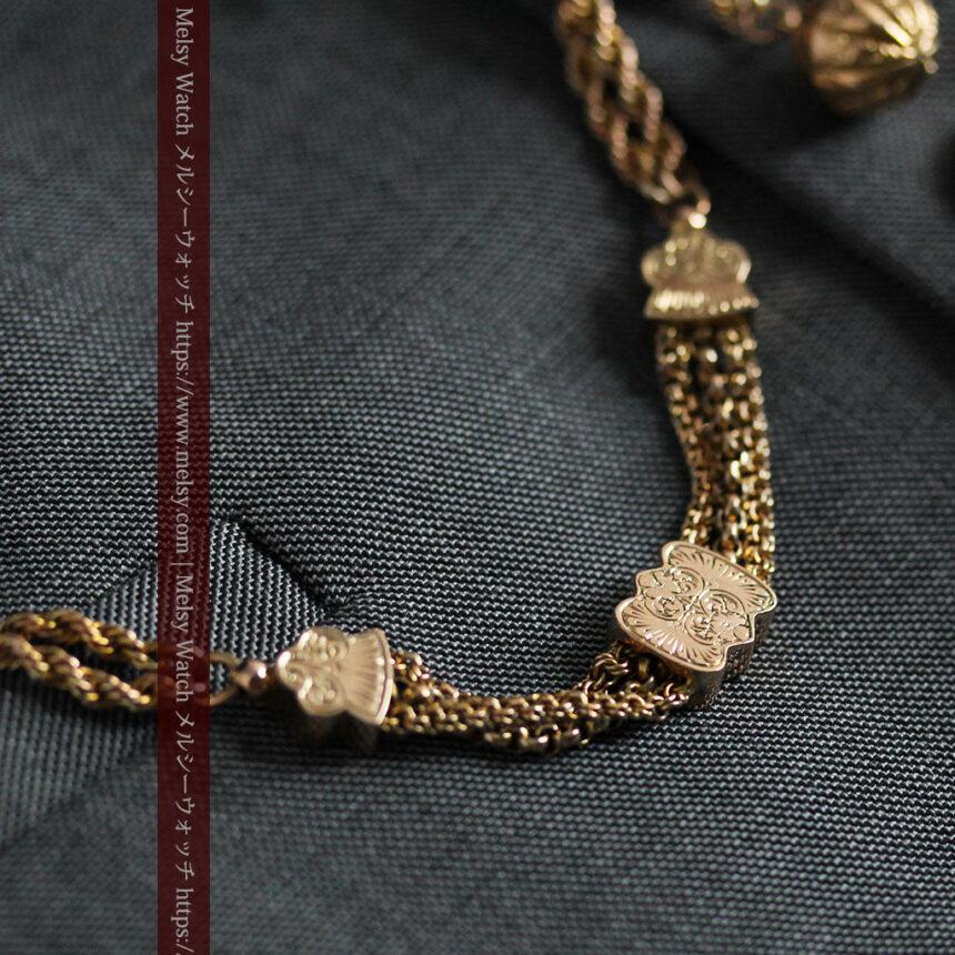玉飾りと繊細な装飾の特別な金無垢アンティーク懐中時計チェーン-C0462-3