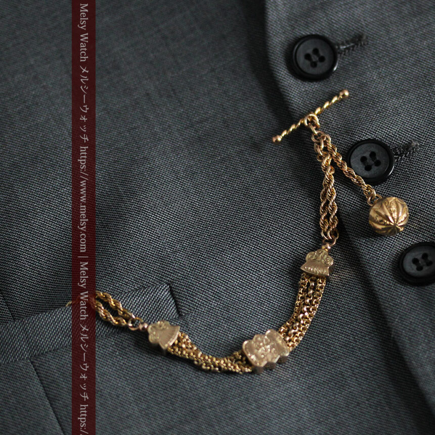 玉飾りと繊細な装飾の特別な金無垢アンティーク懐中時計チェーン-C0462-4