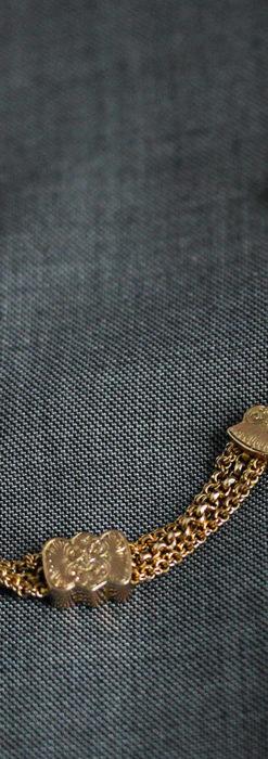 玉飾りと繊細な装飾の特別な金無垢アンティーク懐中時計チェーン-C0462-5