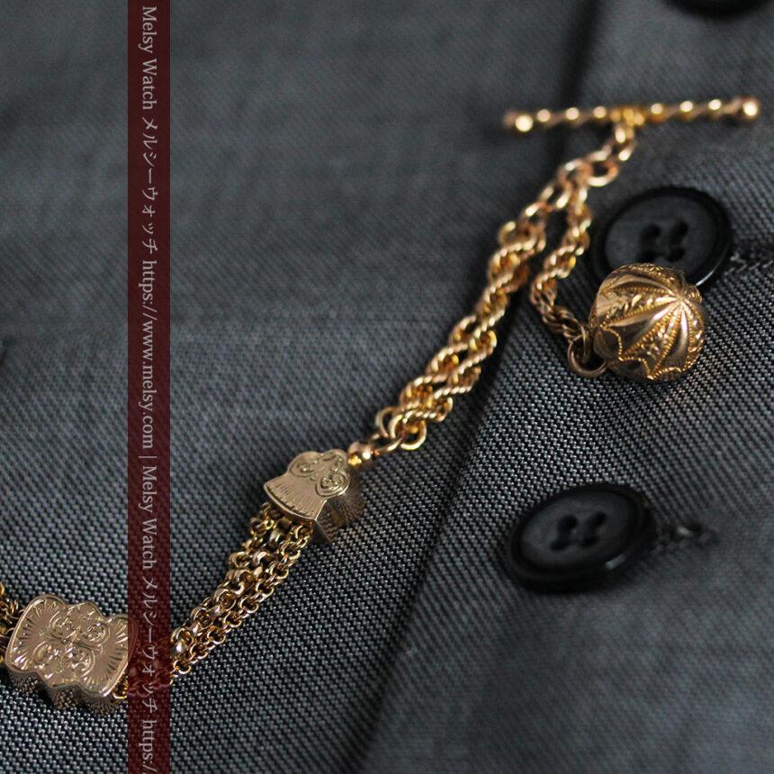 玉飾りと繊細な装飾の特別な金無垢アンティーク懐中時計チェーン-C0462-6