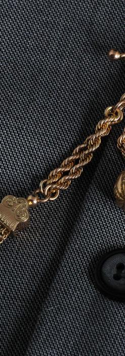 玉飾りと繊細な装飾の特別な金無垢アンティーク懐中時計チェーン-C0462-7