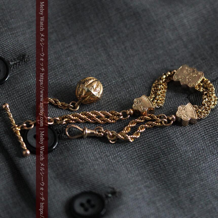 玉飾りと繊細な装飾の特別な金無垢アンティーク懐中時計チェーン-C0462-8